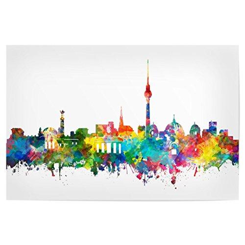 artboxONE Poster Berlin City Skyline Watercolor von Künstler Bekim Mehovic