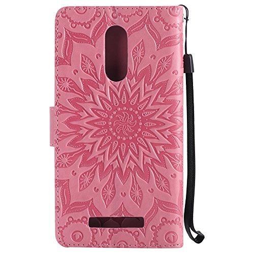 Für Xiaomi Hongmi Note 3 Fall, Prägen Sonnenblume Magnetic Pattern Premium Soft PU Leder Brieftasche Stand Case Cover mit Lanyard & Halter & Card Slots ( Color : Rose Gold ) Pink