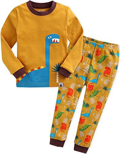 2 Stück Baumwolle Pyjama Bottoms (Vaenait baby Kinder Jungen Nachtwaesche Schlafanzug-Top Bottom 2 Stueck Set Dino King-Camel S)