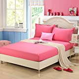 #3: Linenwalas 300 TC 100% Cotton King Size Fitted Bedsheet with 2 Pillow Covers - Solid Plain - Rose Pink - 72
