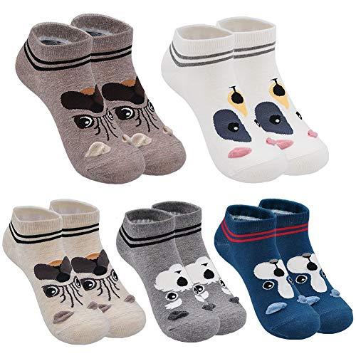 Mogao Caves Frauen Damen Cute Cartoon Tier Socken Baumwolle Katze und Hund Socken, EU 36-41 5/6 Paar