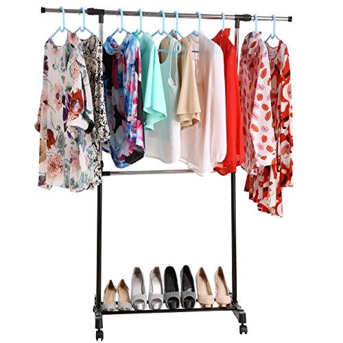 stabiler rollbarer Kleiderständer Garderobenständer - Kleiderstange ausziehbar