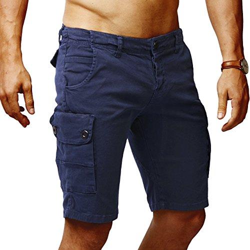 LEIF NELSON Herren Cargo Hose Shorts Sommer Kurze Hose Chino Bermuda Stretch Slim Fit LN1345; W32; Dunkel Blau
