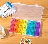 Pill Box Organizer 7 Giorni Per Il Viaggio, Distributore Di Pillola Di Olio Di Pesce Vitamina Contenitore Settimanale Pillola 3 Volte Al Giorno,3Pcs