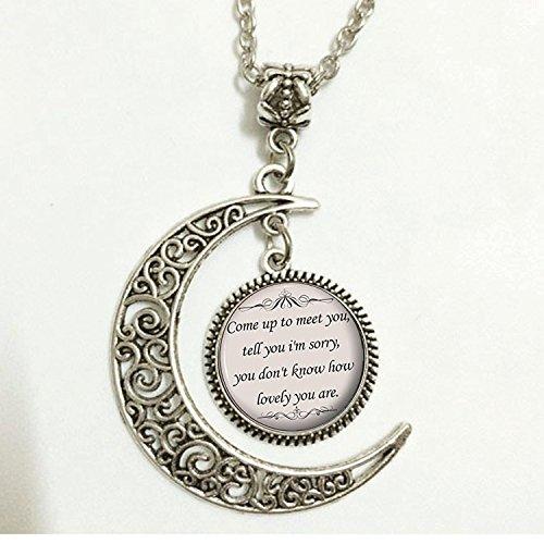 chaftler Songtext Zitat, Charm, Crescent Moon Zitat Halskette, Musik Anhänger, Silber niedliche Schmuck, Geschenk für Frauen und Mädchen (Niedliche Halloween Outfits Für Frauen)
