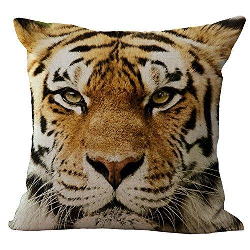 Hometaste Animal dekorativer Überwurf-Kissenbezug Kissen für Schlafcouch Sofa, baumwolle, Tiger Face1, 18x18