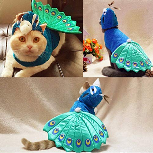 kemai Blue Peacock Cat Kleidung Exquisite Pet Supplies Pet Kleidung Animal Festival Cosplay Welpen Kleidung