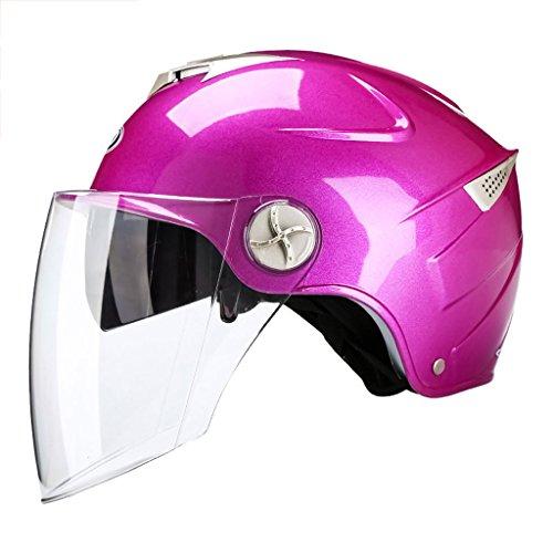 Caschi Uomo Donna Motocicletta Estate Mezza coperta Veicoli elettrici Leggero Protezione solare Doppio specchio Cappello rigido (Colore : Rosa rossa)