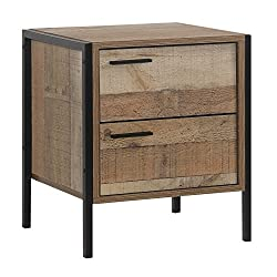 Sen Furniture Ltd Stretton Urban Bedside/Lamp Table/Stand 2 Drawers Rustic Industrial Oak Effect