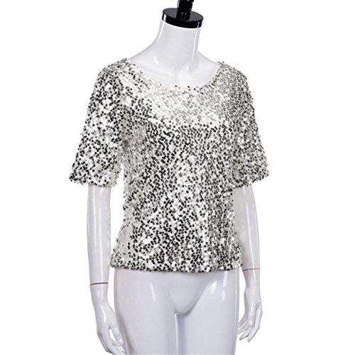 CYBERRY.M T-shirt Été Femme Casual 1/2 Manches Paillettes Party Tee Blouse Chemise Top Argent