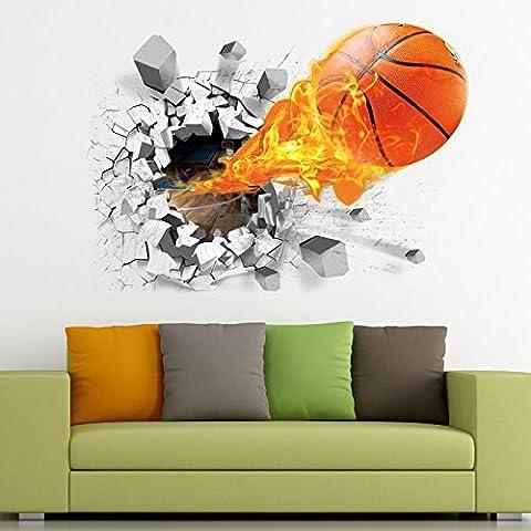 Candora 3D Self-adhesive Removable PVC Break Through the Wall Vinyl Wall Sticker Mural Art Decals Decorator Flying Fire Basketball 50*70CM