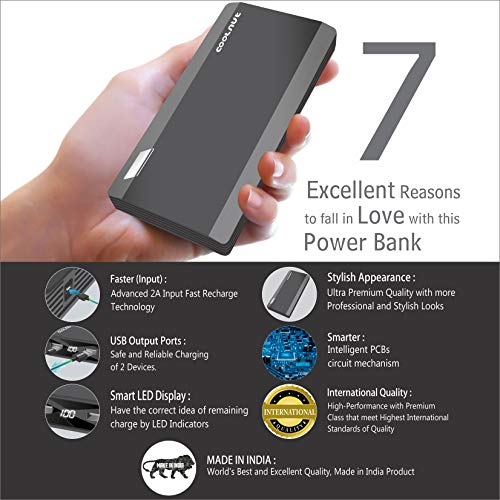 Coolnut CMPBXIP-57 Power Bank 20000mah Made in India (Black)