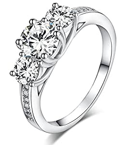 Sreema London 925 Sterling Silver Brilliant Round Cut Crystals Engagement/Wedding Ring (H)