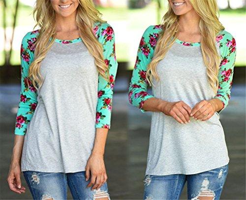 Womens Sexy Rundhalsausschnitt Langarm-Blumendrucken Stitching dünnes T-Shirt Bluse Grau