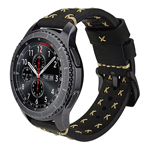 iBazal Gear S3 Strap Leather, Gear S3 Frontier/Classic Watch Band Genuine Leather Strap 22mm Compatible Samsung Gear S3 Frontier/Classic, Samsung Galaxy Watch 46mm [Chic Series] - Chic Black