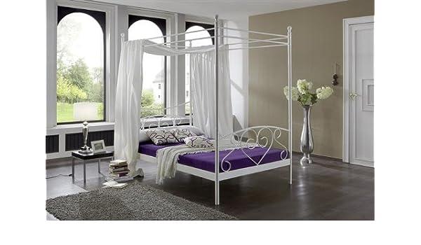 Kasper Wohndesign Ivana Canopy Bed 120 X 200 Cm Metal White