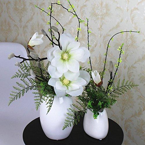 XHZ Chinesische Magnolia emulation Blumen Wohnzimmer Esstisch setzt Wohnkultur Vasen im Orchid dekorativen Pflanzen, Jade Orchidee weiß Größe eingestellt Künstliche Blumen Fake Blumen für Hochzeit Blumensträuße für Hochzeit Home Garten Dekoration