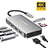 VANMASS USB C Hub 9 in 1 mit 4 VR Chips USB-C Port 90W PD 4K HDMI Ausgang USB C Adapter mit 4 USB...