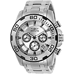 INVICTA Pro Diver Men's Quartz Watch with Silver Dial Chronograph Display and Silver Stainless Steel Bracelet - 22317