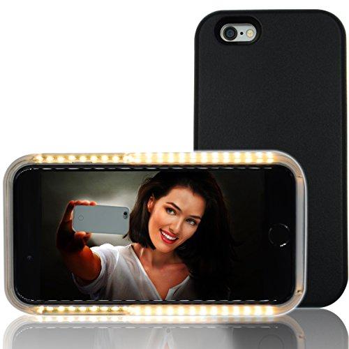 Coque Lumineuse, RIOGOO Téléphone Selfie Étui avec FaceTime - Lumineux Téléphone portable Coque pour iPhone 6/6S - Noir