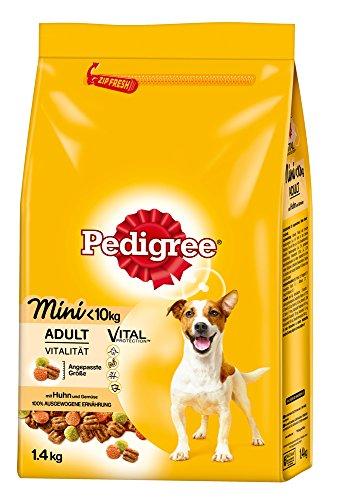 Pedigree Hundefutter Trockenfutter Adult für kleine Hunde <10 kg mit Huhn und Gemüse, 6 Beutel (6 x 1,4 kg)