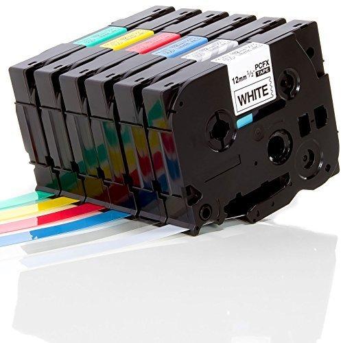 Preisvergleich Produktbild iTecXpress24 - 6x verschiedene Eseller Schriftbänder für Brother P-Touch TZ 131 231 431 531 631 731 - 6 Bänder a´ 12mm 8m für Beschriftungsgeräte Drucker Label Print Printer Gerät u.a. PT1005 1000 1010 1000W 1090 1090VP E100 E100VP P700 P750W Professionell PC MAC D400 VP D200 BW 2430PC PT-2430PC USB 2730VP 7000 9000er Serie PTD450VP PTE500VPG1 PTD200BWZG1 PT-9700PC H75 H105 H300 H500 Modell