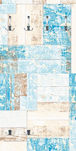 Artland Qualitätsmöbel I Garderobe mit Motiv Holz Bedruckt und Metall Haken Abstrakte Motive Muster Geometrische Formen Digitale Kunst Blau D8TS Maritimes Holz