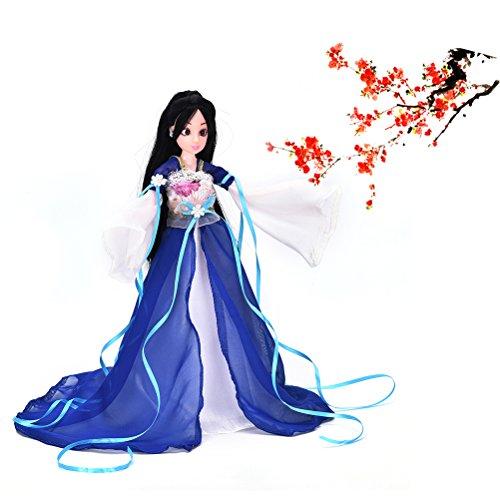 1 Stück Schöne chinesische alte Puppe Kleid Doll Clothes Accessory-blau
