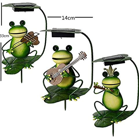 SHENCHI Solar Powered LED Light Garden Ornament Outdoor Lawn Cute Frog Plays the Violin Guitar Flute Handmade Iron Craft Waterproof Light , frogs play the