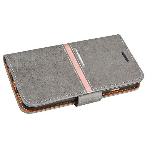 Yokata Hülle for iPhone 6 / iPhone 6s, Flip Magnetverschluss Leder Brieftasche mit Stand Karte Halterung Hülle Vintage Tasche Case + 1x Kapazitive Feder - Schwarz Grau