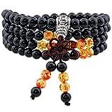Shanxing 108 Perlen Edelstein Yoga Armband Schmuck Buddha Buddhistische Tibetische Gebetskette Mala Kette Halskette,Schwarz Achat & Bernstein Perlen