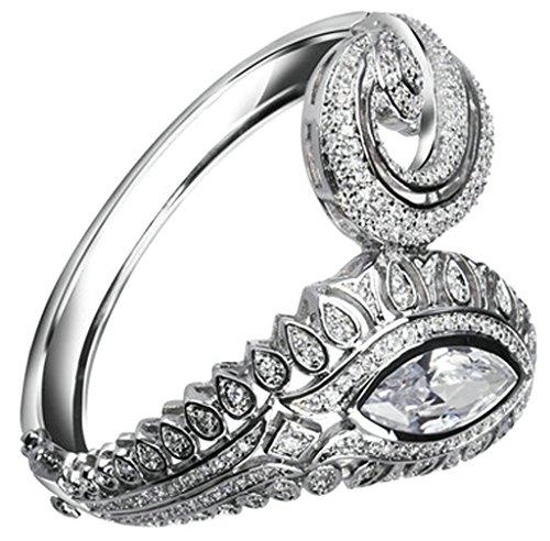 AnaZoz Bijoux Série Haute de Gamme Femme Bracelet Mariage Noble Élégant Incrusté Zircon Cubique Goutte Larme Design Noël valentin Blanc