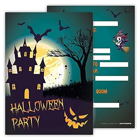 Spooky Halloween Party Invitations Pack of 12 Cards for Boys Girls Kids Birthday Superheroes Hero Emoji Postcard Invitations Greetings fill-in