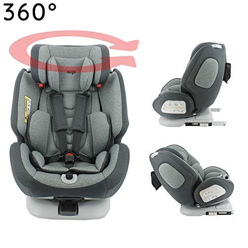 MIGO-Seggiolino Auto Isofix e girevole a 360° e reclinabile gruppo 0/1/2/3 (0-36kg) - ultra confortevole - Protezione lat