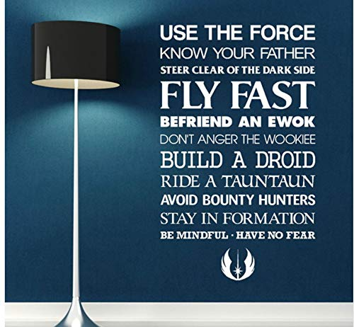 Likeai Autocollant Mural Star Wars Utiliser Puissance Vinyle Mur Art Citation Autocollant Room Decal Science Fiction Film Home Decor Salon 57 * 94 Cm