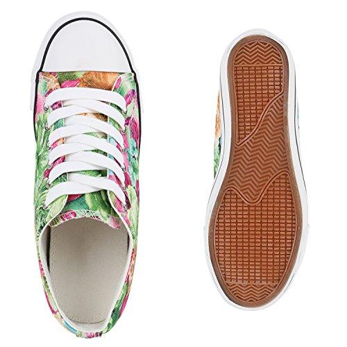 Sneaker-Wedges Damen Keil Absatz Turnschuhe 90's Look Freizeit Grün Pink Muster