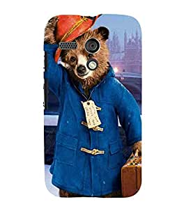 For Motorola Moto G :: Motorola Moto G (1St Gen) cute bear, bear, bear with bag, city Designer Printed High Quality Smooth Matte Protective Mobile Pouch Back Case Cover by BUZZWORLD