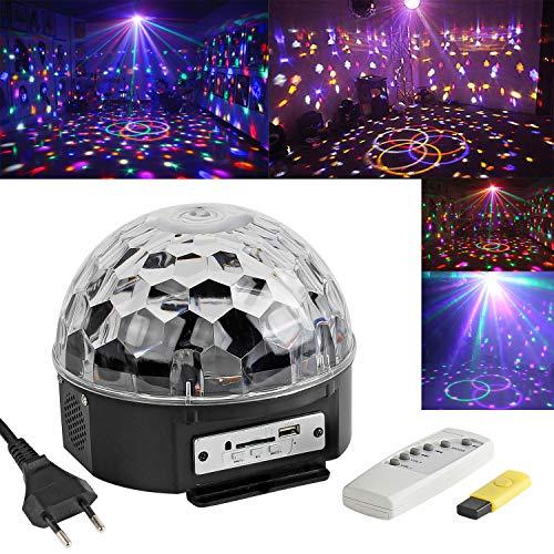 Discokugel LED Party Lichteffekte Musikgesteuert RGB 6 Farbe für Disco Clubs Party Bühnenbeleuchtung Geburtstag Effekt Strahler Scheinwerfer