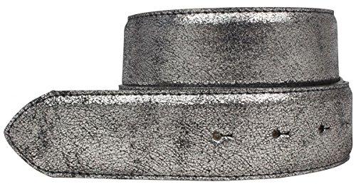 Brazil Lederwaren Hochwertiger Wechselgürtel Metall-Optik ohne Schnalle 4,0 cm | Druckknopf-Gürtel Metallic-Look 40mm | Silber Gold Rosegold 4cm Echt Leder