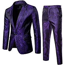 Logobeing Chaqueta y Pantalón de Traje de Hombre Blazer - Traje de 2 Piezas- Chaqueta de Fiesta de Bodas de Negocios Chaquetas de Traje Americana Hombre (XXXL, Púrpura)