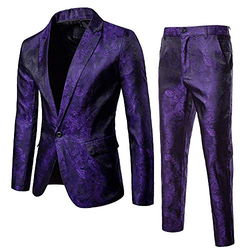 bestshope Herren Anzug Suit, Männer 2-Teilig Blazer & Anzughose Slim Fit Schnitt Sakko Mantel mit Knöpfe Top Kostüm Outwear Smoking Jacke Hose Sets Für Business Traditionelle Hochzeit Cocktail Party (Harris Kostüm)