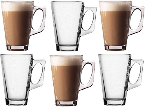 Takestop® set 6 tazzine 140ml tazza da cappuccino latte bevanda calda the' in vetro con manico bicchiere bar