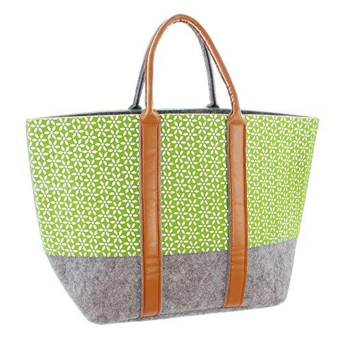 FRANK FLECHTWAREN Filz-Tasche Green Blossom