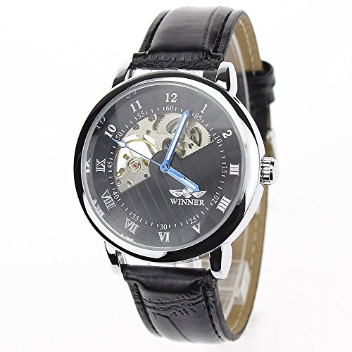 Man, mechanische Uhr, automatische, Mode, lässig, Leder, M0257