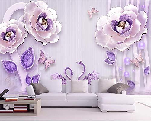 Kreative 3D-Stereo-Relief personalisierte Mode Seidentapeten Pfingstrose Europäischen TV-Hintergrund Wallpaper Mural 3D Wallpaper-280x200cm (Tauchen Rolex)