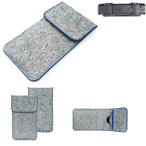K-S-Trade® Filz Schutz Hülle Für Simvalley Mobile SPT-210 Schutzhülle Filztasche Pouch Tasche Case Sleeve Handyhülle Filzhülle Hellgrau, Blauer Rand
