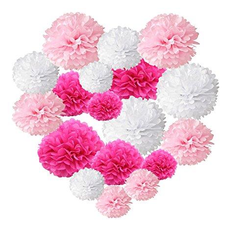 18 Pompons aus Papier für Hochzeit, Party, Geburtstag, Dekoration White+Pink+Fuschia