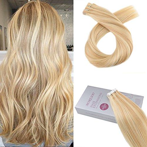 (Moresoo 16zoll/40cm Highlight Tape On Extensions Skin Weft Brasilianisch Remy Hair Glonde Blondine zu Blond #16/22 Glatt Haarverlängerung Zum Kleben 20Pcs/50Gramm)
