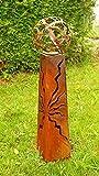 Gartendeko Fackelsäule Rost Fackel Säule 100 cm