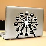 Vati Blätter Removable Wasserrad Vinyl-Aufkleber Aufkleber Haut-Kunst-Schwarz für Apple Macbook Pro Air Mac 13